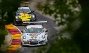 Jesse Lazare leads the way during Sunday's Porsche GT3 Cup Challenge USA by Yokohama event at Road America. (IMSA Photo)