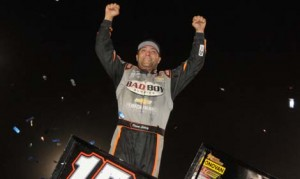 Donny Schatz celebrates after winning the Gold Cup Race of Champions on Saturday night at Silver Dollar Speedway. (Tom Parker Photo)