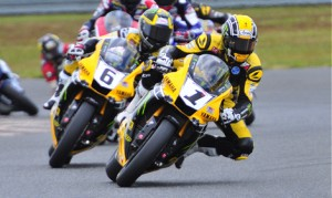 Josh Hayes (1) won both MotoAmerica Superbike races on Sunday at New Jersey Motorsports Park, but it wasn't enough to stop his teammate Cameron Beaubier (6) from claiming the series championship. (Dennis Bicksler Photo)
