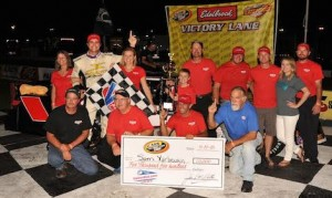 Sam Yarbrough, a former Myrtle Beach Speedway track champion, pulled an upset during the CARS Late Model Stock Tour event at his home track and bypassed polesitter Deac McCaskill in the final laps to motor to victory in his first tour start. (Kyle Tretow photo)