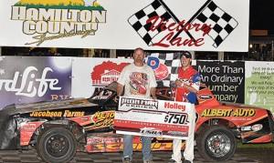Tom Schmitt wired the USRA Stock Car feature on Wednesday night at Hamilton County Speedway. (Buck Monson Photo)