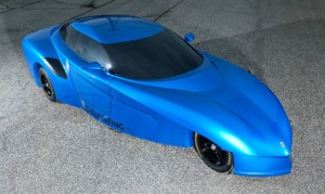 A full size concept of a street legal Panoz DeltaWing GT is on display at Road Atlanta during the 2015 Petit Le Mans Powered by Mazda.