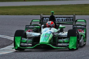 Juan Pablo Garcia made his first laps in an Indy car during a test for KV Racing Technology at Palm Beach Int'l Raceway recently.