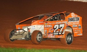 Danny Johnson dominated Friday night's Super DIRTcar Series big-block modified feature at The Dirt Track at Charlotte. (Frank Smith photo)