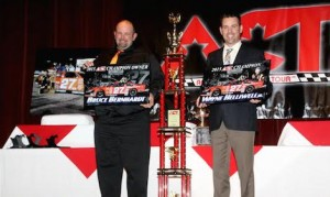 ACT Late Model Tour Champion Wayne Helliwell, Jr., right, and car owner Bruce Bernhardt are honored at the 2015 ACT Banquet of Champions. (Alan Ward/Big Al's Photos)