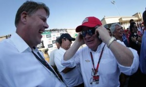 Chip Ganassi, right, is one of four up for the Rolex Bob Snodgrass Award of Excellence. (Shawn Gritzmacher/IndyCar photo)