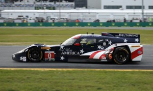 Katherine Legge put the DeltaWing at the front of the Rolex 24 field early on, but a crash later as night overtook Daytona Int'l Speedway ended the race for the team. (Dave Moulthrop Photo)