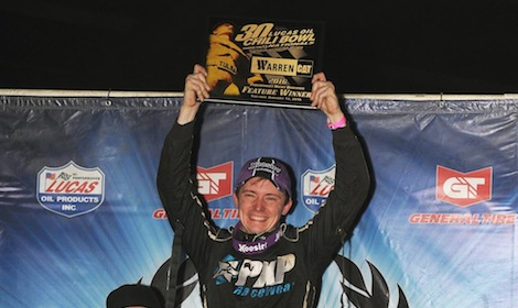 Alex Bright in victory lane Tuesday during the Chili Bowl Nationals. (Frank Smith photo)