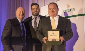 Team owner Chip Ganassi, right, was presented with the Snodgrass Award of Excellence. (Rolex/Tom O'Neal photo)