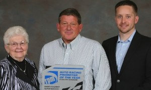 40th Auto Racing Promoter of the Year Gray Garrison, Bowman Gray (NC) Stadium, with Jody Deery, Rockford Speedway (left), and Matt Greci, Director of Events, for award sponsor Charlotte Motor Speedway. (RPM photo)
