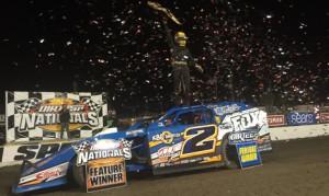 Nick Hoffman celebrates after winning the Gator Championship Monday night at Volusia Speedway Park. (Chris Dolack Photo)