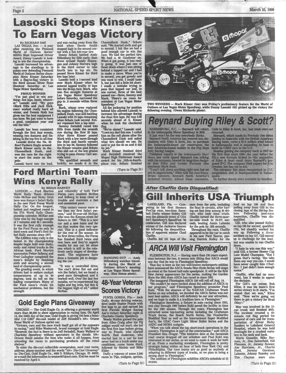 Torn From The Headlines: March 10, 1999 | SPEED SPORT