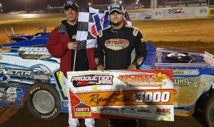Ryan Gustin won Friday's USMTS modified feature at Ark-La-Tex Speedway.
