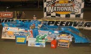 Josh Richards celebrates winning Tuesday's UMP late model race at Florida's Volusia Speedway Park. (Hein Brothers photo)