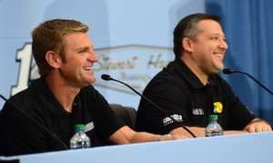 Stewart-Haas Racing will use Ford power starting next year, after Clint Bowyer, left, takes over for Tony Stewart in the No. 14. (NASCAR photo)