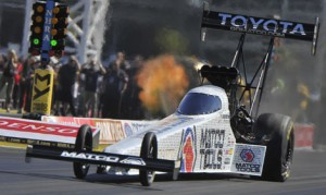 Antron Brown roared to his first NHRA Top Fuel victory of the season on Sunday afternoon at The Strip at Las Vegas Motor Speedway. (NHRA Photo)