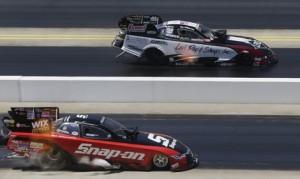 Tim Wilkerson (far lane) bested Cruz Pedregon and two other drivers to win the NHRA Four-Wide Nationals for the first time on Sunday afternoon at zMAX Dragway. (HHP/Harold Hinson Photo)