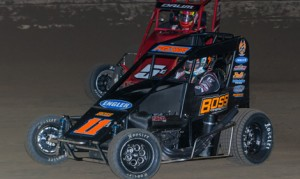 Andrew Felker (11) bested Zach Daum to win Friday's Lucas Oil POWRi National Midget Series feature at Belle-Clair Speedway. (Connor Hamilton Photo)