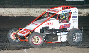 Jason McDougal used a late-race pass to score his first Lucas Oil POWRi National Midget Series victory Saturday night at Port City Raceway. (Richard Bales Photo)