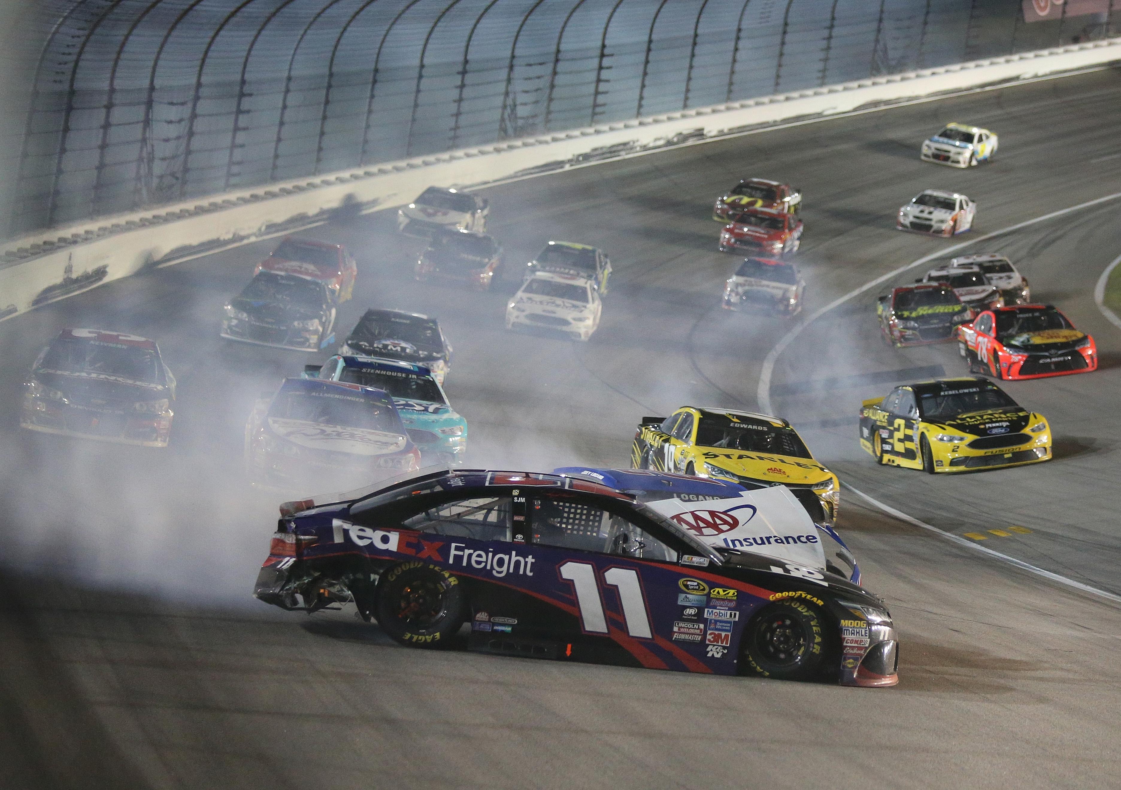 Denny Hamlin Crash Sprint Cup Kansas | SPEED SPORT