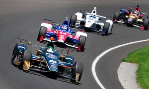 Ed Carpenter (20_ leads Takuma Sato (14), J.R. Hildebrand (6) and Mikail Aleshin during practice Monday at Indianapolis Motor Speedway. (Eric Schwarzkopf photo)