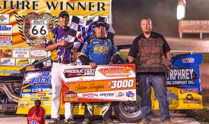 Jason Hughes won Saturday's USMTS main event at Route 66 Motor Speedway. (Bobby Thomas Photo)