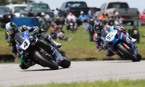 Josh Hayes (4) leads Roger Hayden during one of Sunday's two MotoAmerica Superbike races at Virginia Int'l Raceway. (Brian J. Nelson Photo)