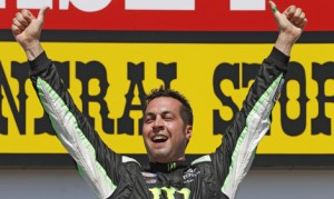 Sam Hornish Jr. celebrates after winning Sunday's NASCAR XFINITY Series race at Iowa Speedway. (HHP/Gregg Ellman Photo)