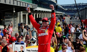 Kyle Busch celebrates in victory lane after his triumph on Sunday at Indianapolis Motor Speedway. (Eric Schwarzkopf Photo)