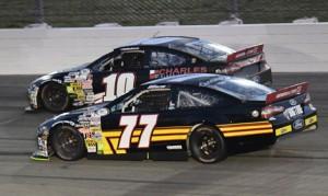 Chase Briscoe (77) battles Kyle Weatherman during Saturday's ARCA Racing Series event at Iowa Speedway. (Al Steinberg Photo)
