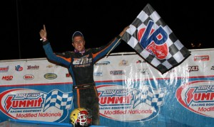 Nick Hoffman celebrates in victory lane after winning Friday's DIRTcar Summit Racing Equipment Modified Nationals feature at Oakshade Speedway. (Jim DenHamer Photo)