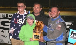 Chris Andrews and crew in victory lane at California's Delta Speedway.