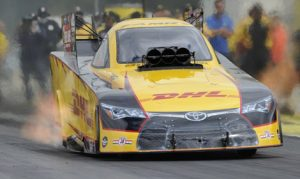 Del Worsham reset the NHRA Funny Car elapsed time record twice on Saturday at Pacific Raceways. (NHRA Photo)