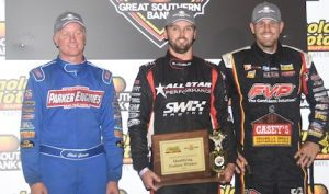 Jamie Veal (center) shared the podium with Brian Brown (right) and Clint Garner Friday at Knoxville Raceway. (Conrad Nelson photo)