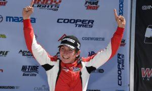 Zach Veach in victory lane Saturday at Watkins Glen Int'l. (Al Steinberg photo)
