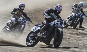 Indian Motorcycles has announced that Bryan Smith, Jared Mees and Brad Baker will make up the Wrecking Crew rider roster as the motorcycle brand returns to the Flat Track racing in 2017. Joe Kopp (3) drove the all-new Indian Scout FTR750 on Sunday at the Santa Rosa mile. (Indian Photo)