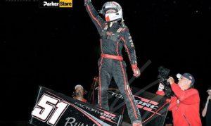 Logan Seavey in victory lane Tuesday night at Cycleland Speedway. (KrazyKarts Photgraphy photo)