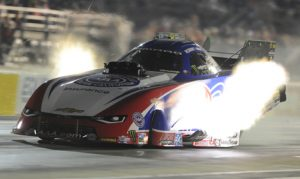 Robert Hight was the provisional No. 1 qualifier in the NHRA Funny Car class after Friday night at Royal Purple Raceway. (NHRA Photo)