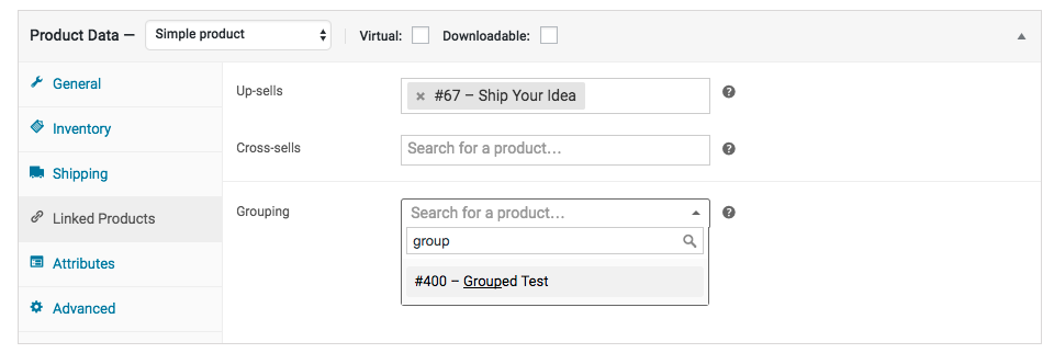Linked Products to select the parent product from the Grouping dropdown