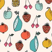 fruits // summer sweet fruits pineapple lemon cherry oranges citrus cute fruit print