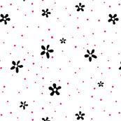 Black Flowers Red Polka Dots