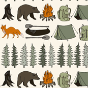 camping // cream bear fox woodland forest trees outdoors illustration