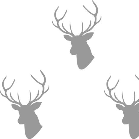 Gray Deer Silhouette fabric by mrshervi on Spoonflower - custom fabric