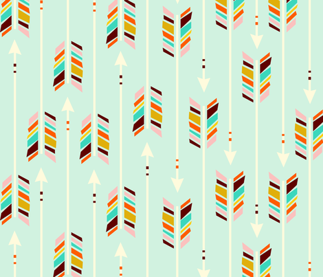 Large Arrows: Mint fabric by nadiahassan on Spoonflower - custom fabric