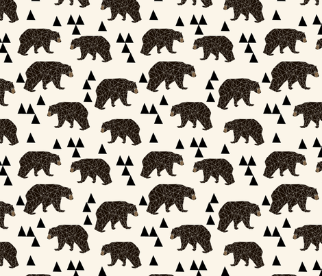 geo bear fabric // cream geo trendy hipster bear woodland kids nursery baby design fabric by andrea_lauren on Spoonflower - custom fabric