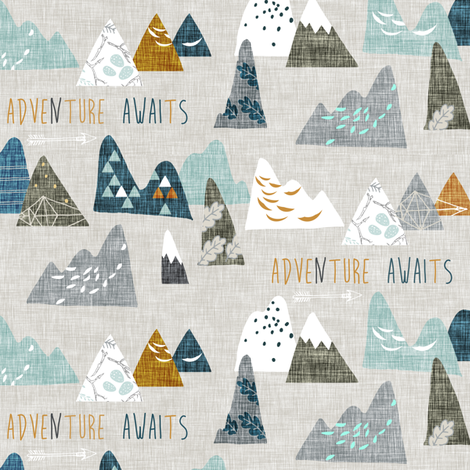 Adventure Awaits (earth) SMALL fabric by nouveau_bohemian on Spoonflower - custom fabric