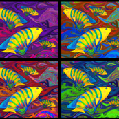 FISHES WAVES 4 in 1 or 1 Yard PANEL