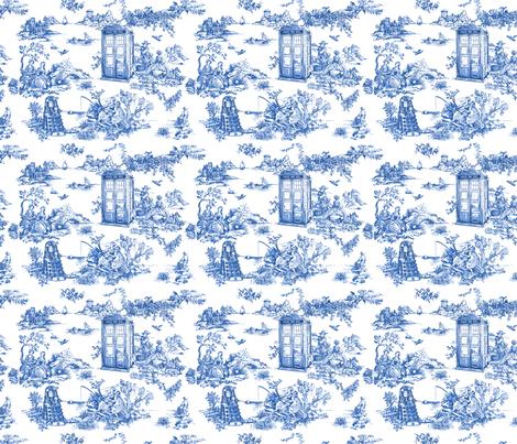 Toile de Jouy blue police boxes fabric by debi_birkin on Spoonflower - custom fabric