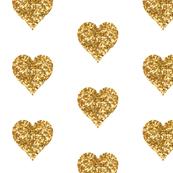 Gold Glitter Hearts Baby Fabric