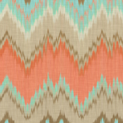 Ikat Chevron in Mint and Coral